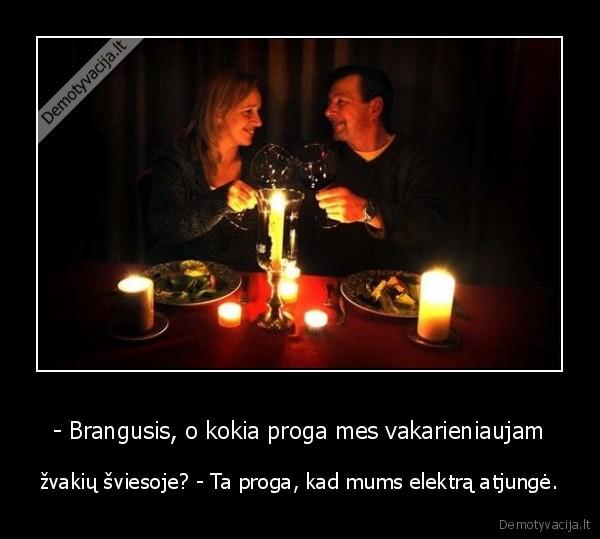 Brangusis o kokia proga mes vakarieniaujam zvakiu sviesoje Ta proga kad mums elektra atjunge