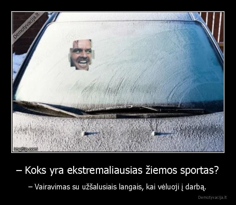 Koks yra ekstremaliausias ziemos sportas Vairavimas su uzsalusiais langais kai veluoji i darba