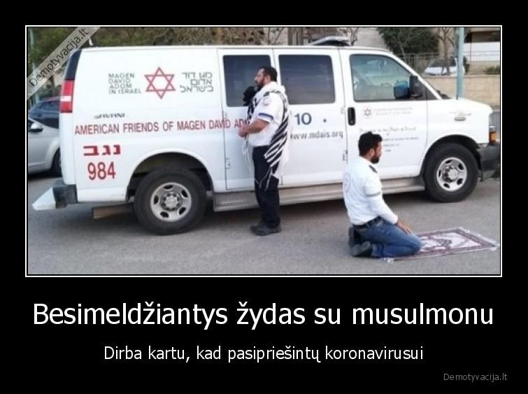 Besimeldziantys zydas su musulmonu Dirba kartu kad pasipriesintu koronavirusui