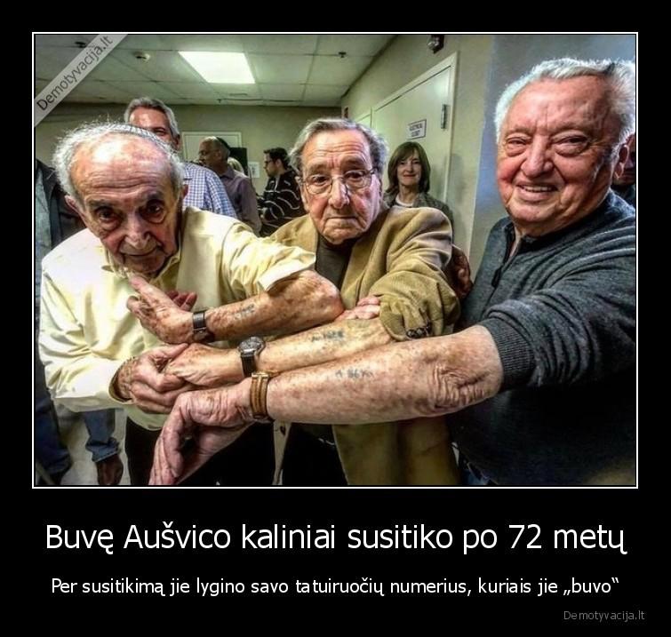 Buve Ausvico kaliniai susitiko po 72 metu Per susitikima jie lygino savo tatuiruociu numerius kuriais jie buvo