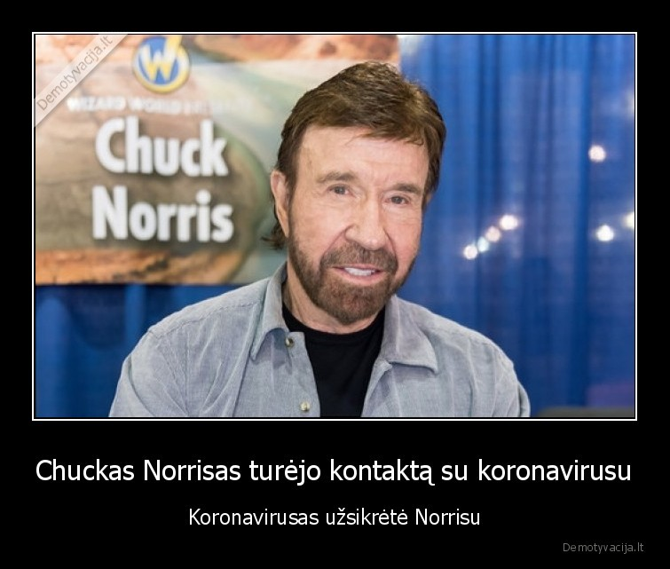 Chuckas Norrisas turejo kontakta su koronavirusu Koronavirusas uzsikrete Norrisu