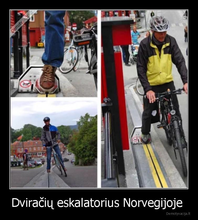 Dviraciu eskalatorius Norvegijoje
