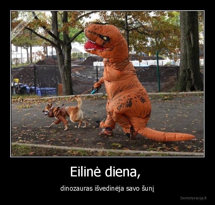 Eiline diena dinozauras isvedineja savo suni