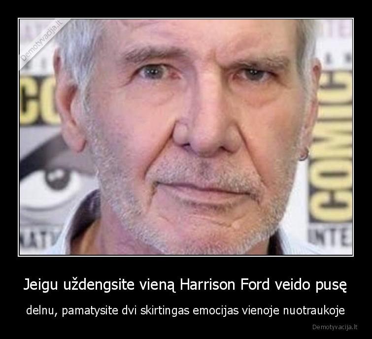 Jeigu uzdengsite viena Harrison Ford veido puse delnu pamatysite dvi skirtingas emocijas vienoje nuotraukoje