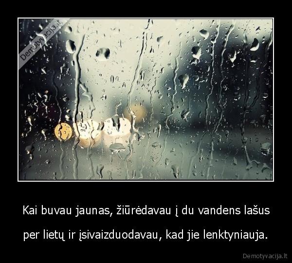 Kai buvau jaunas ziuredavau i du vandens lasus per lietu ir isivaizduodavau kad jie lenktyniauja