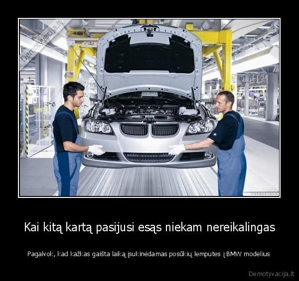 Kai kita karta pasijusi esas niekam nereikalingas Pagalvok kad kazkas gaista laika isukinedamas posukiu lemputes i BMW modelius