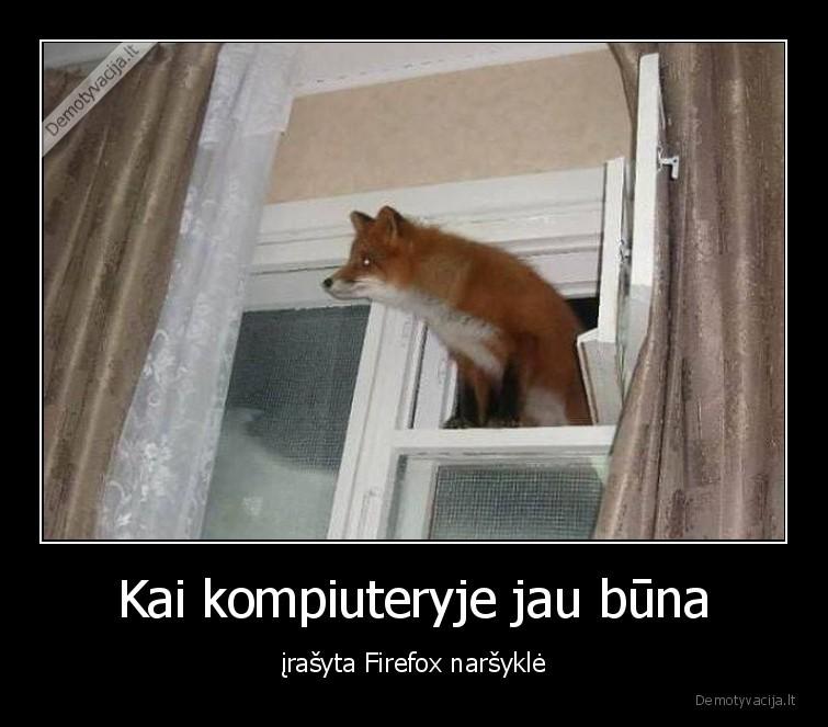 Kai kompiuteryje jau buna irasyta Firefox narsykle