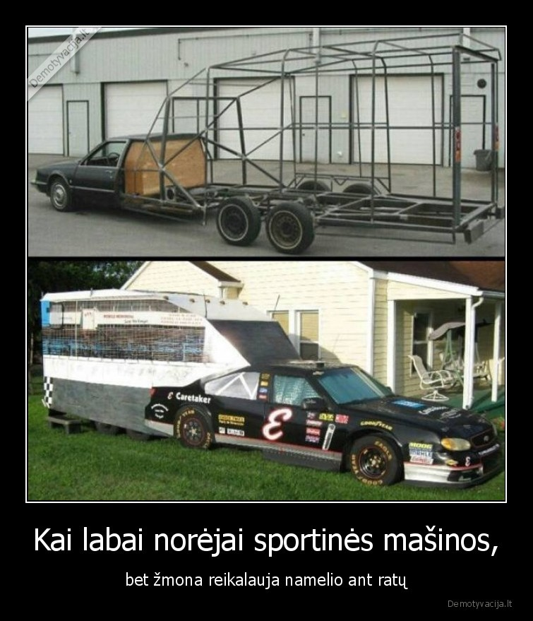 Kai labai norejai sportines masinos bet zmona reikalauja namelio ant ratu