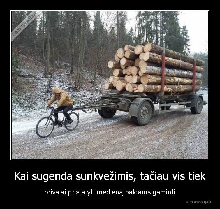 Kai sugenda sunkvezimis taciau vis tiek privalai pristatyti mediena baldams gaminti