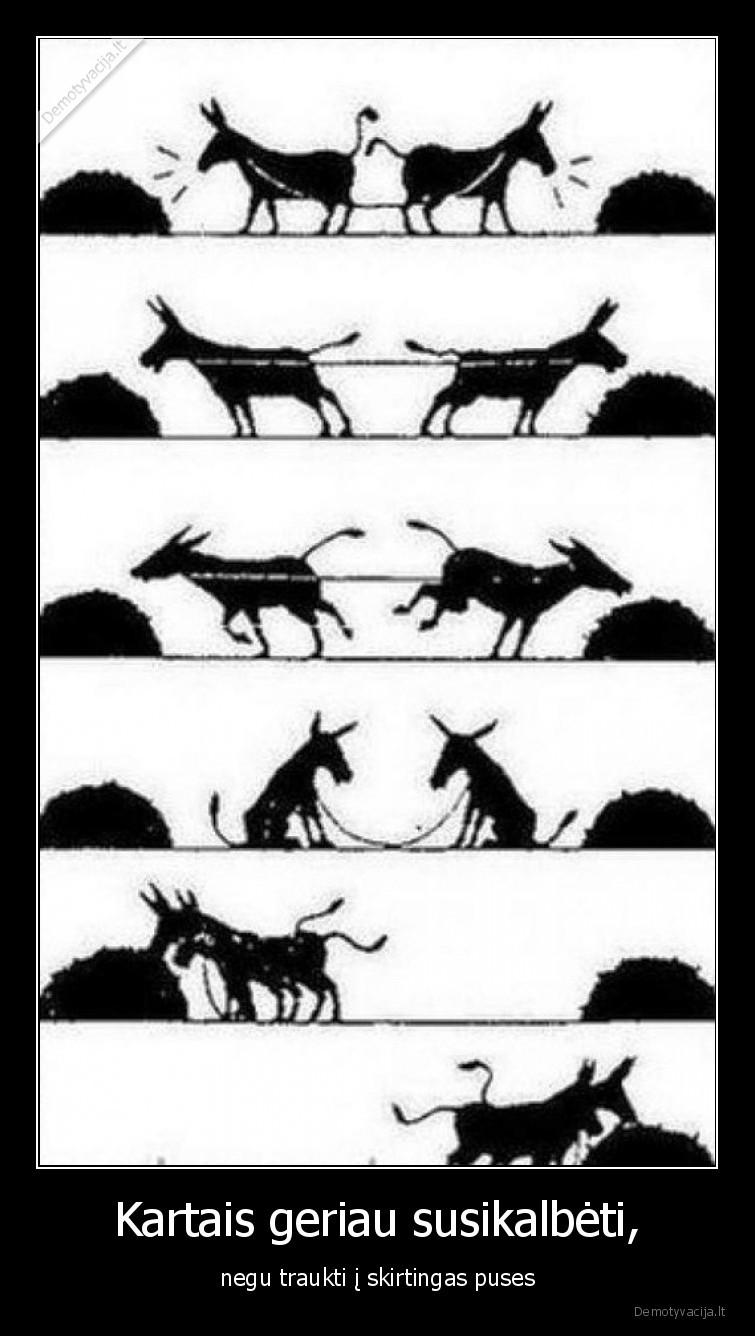 Kartais geriau susikalbeti negu traukti i skirtingas puses