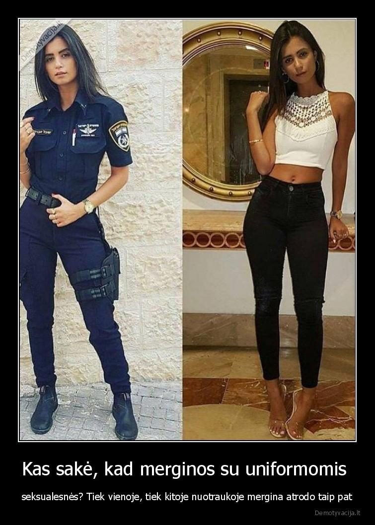 Kas sake kad merginos su uniformomis seksualesnes Tiek vienoje tiek kitoje nuotraukoje mergina atrodo taip pat