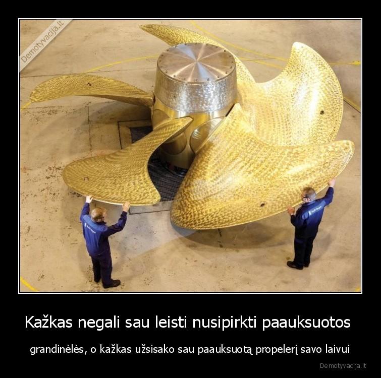 Kazkas negali sau leisti nusipirkti paauksuotos grandineles o kazkas uzsisako sau paauksuota propeleri savo laivui