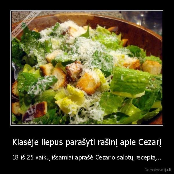 Klaseje liepus parasyti rasini apie Cezari 18 is 25 vaiku issamiai aprase Cezario salotu recepta