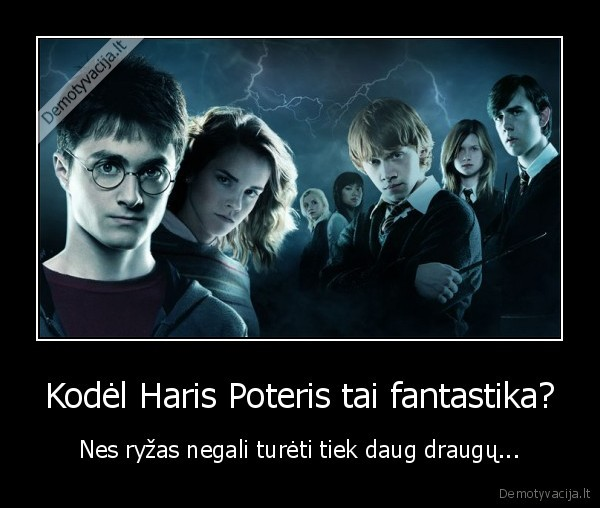 Kodel Haris Poteris tai fantastika Nes ryzas negali tureti tiek daug draugu