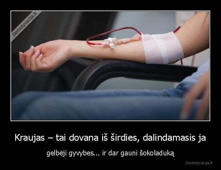 Kraujas tai dovana is sirdies dalindamasis ja gelbeji gyvybes... ir dar gauni sokoladuka