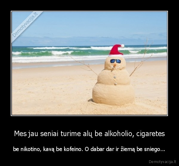 Mes jau seniai turime alu be alkoholio cigaretes be nikotino kava be kofeino. O dabar dar ir ziema be sniego