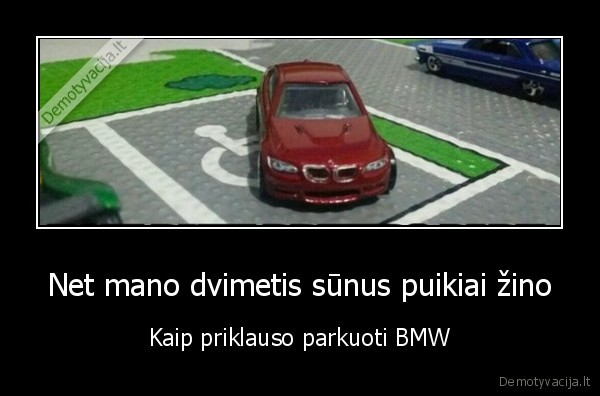 Net mano dvimetis sunus puikiai zino Kaip priklauso parkuoti BMW