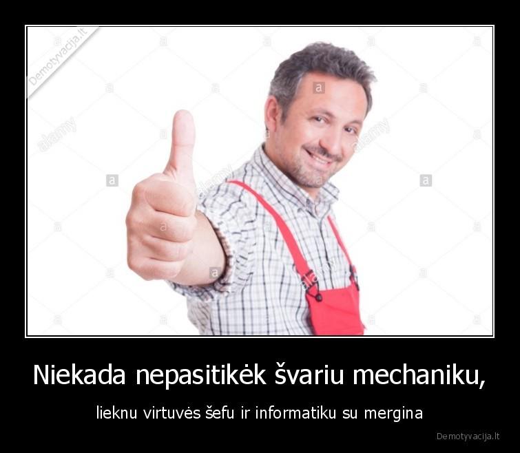 Niekada nepasitikek svariu mechaniku lieknu virtuves sefu ir informatiku su mergina