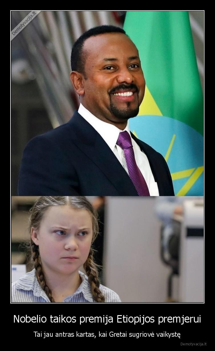 Nobelio taikos premija Etiopijos premjerui Tai jau antras kartas kai Gretai sugriove vaikyste