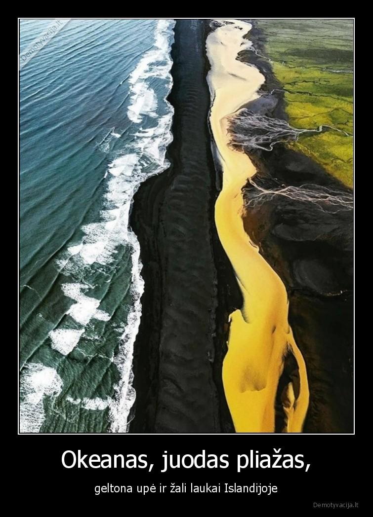 Okeanas juodas pliazas geltona upe ir zali laukai Islandijoje