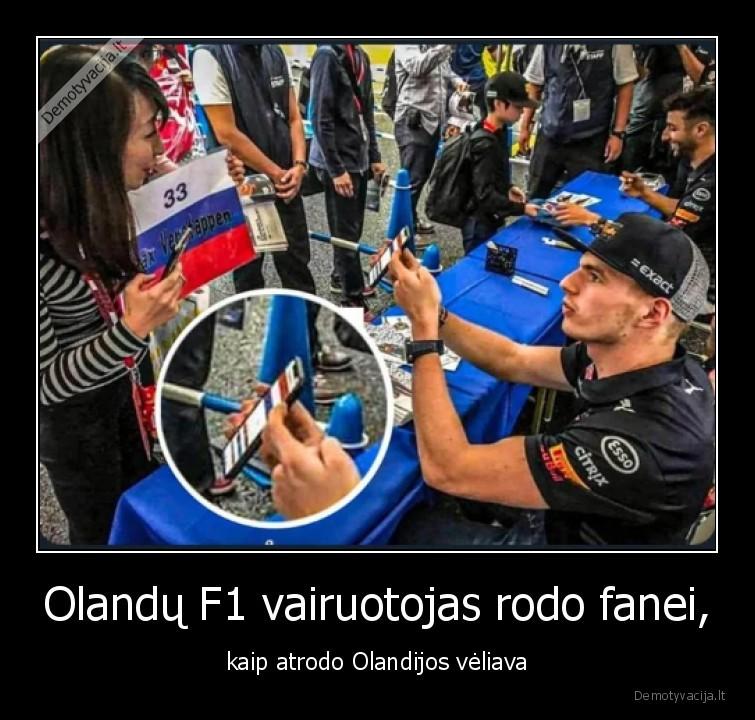 Olandu F1 vairuotojas rodo fanei kaip atrodo Olandijos veliava