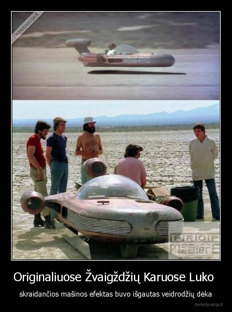 Originaliuose zvaigzdziu Karuose Luko skraidancios masinos efektas buvo isgautas veidrodziu deka