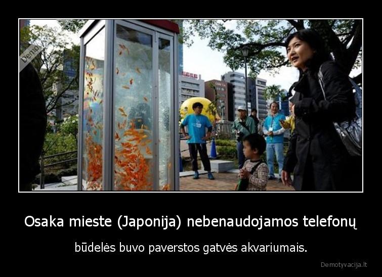 Osaka mieste Japonija nebenaudojamos telefonu budeles buvo paverstos gatves akvariumais