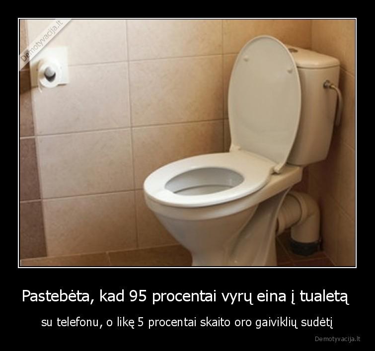 Pastebeta kad 95 procentai vyru eina i tualeta su telefonu o like 5 procentai skaito oro gaivikliu sudeti