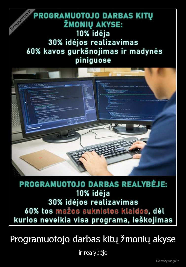 Programuotojo darbas kitu zmoniu akyse ir realybeje