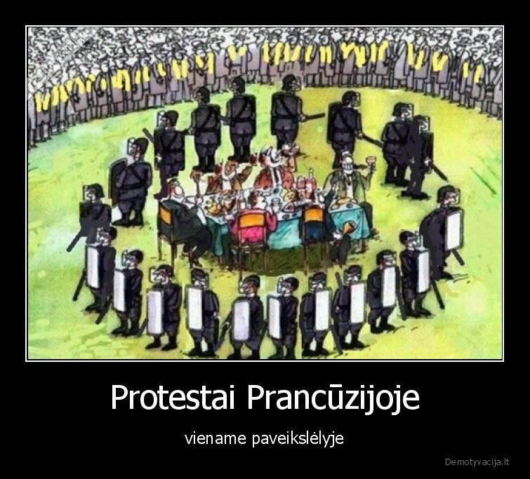 Protestai Prancuzijoje viename paveikslelyje