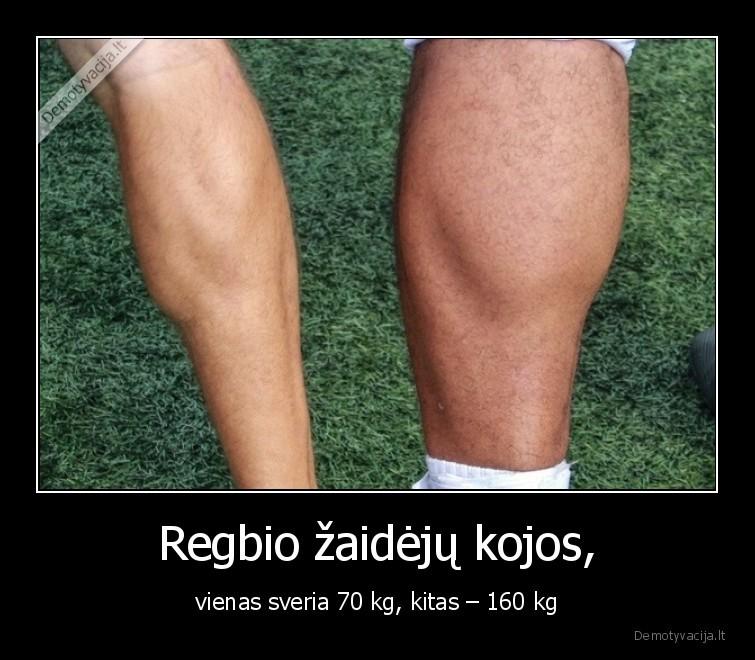 Regbio zaideju kojos vienas sveria 70 kg kitas 160 kg