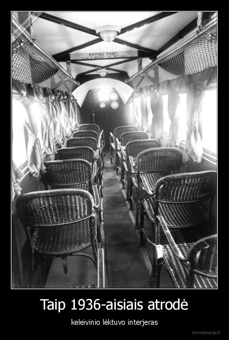 Taip 1936 aisiais atrode keleivinio lektuvo interjeras