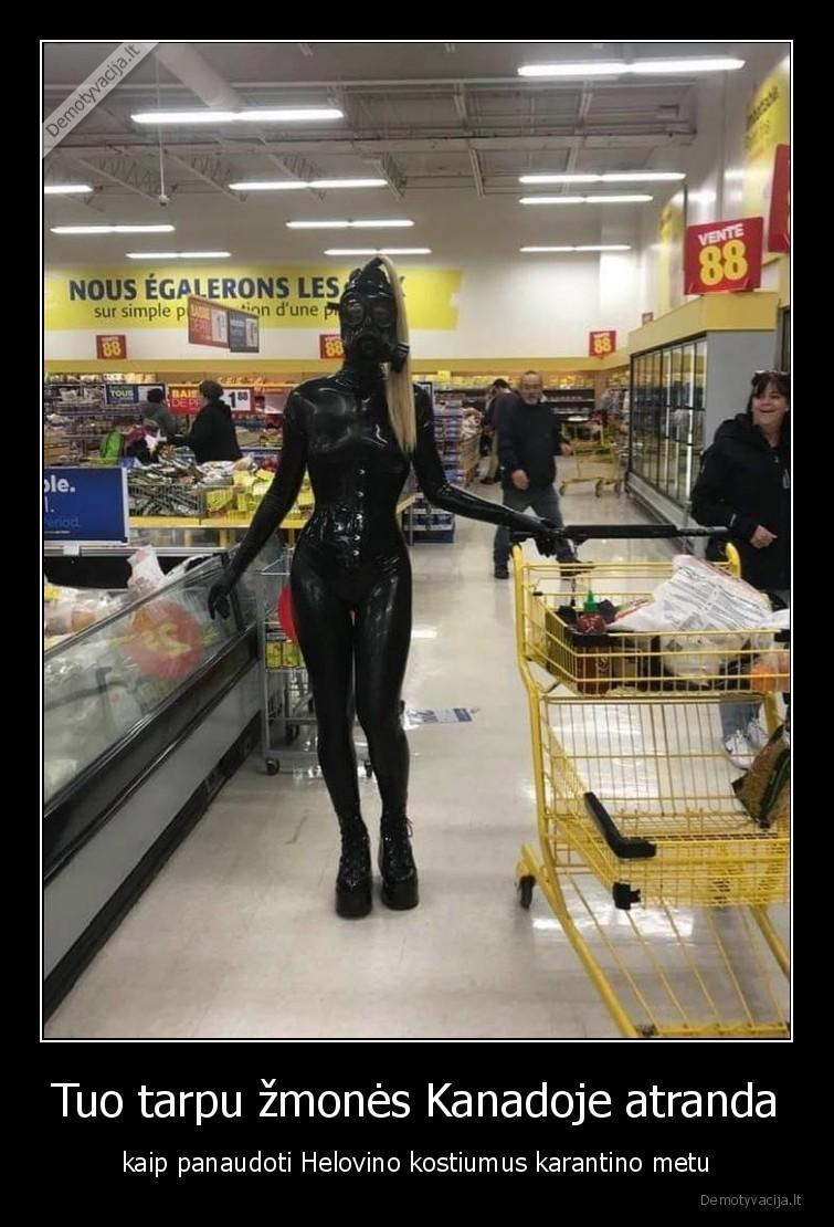 Tuo tarpu zmones Kanadoje atranda kaip panaudoti Helovino kostiumus karantino metu