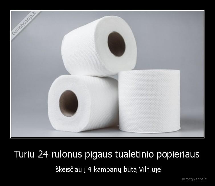 Turiu 24 rulonus pigaus tualetinio popieriaus iskeisciau i 4 kambariu buta Vilniuje