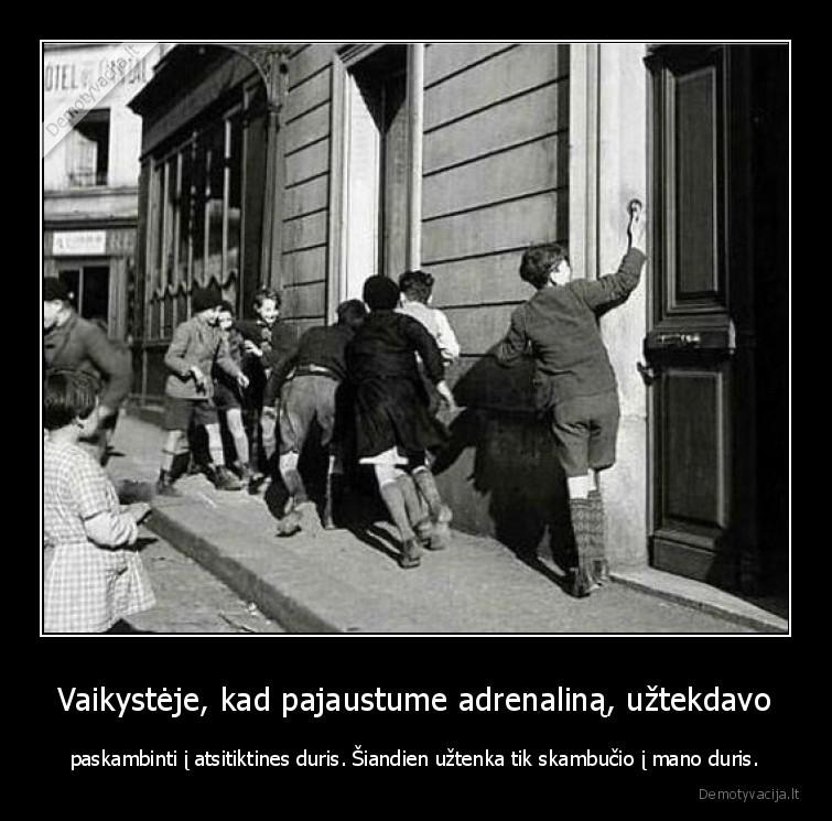 Vaikysteje kad pajaustume adrenalina uztekdavo paskambinti i atsitiktines duris. siandien uztenka tik skambucio i mano duris