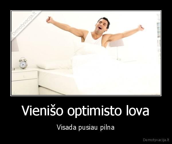 Vieniso optimisto lova Visada pusiau pilna