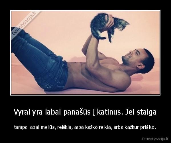 Vyrai yra labai panasus i katinus. Jei staiga tampa labai meilus reiskia arba kazko reikia arba kazkur prisiko
