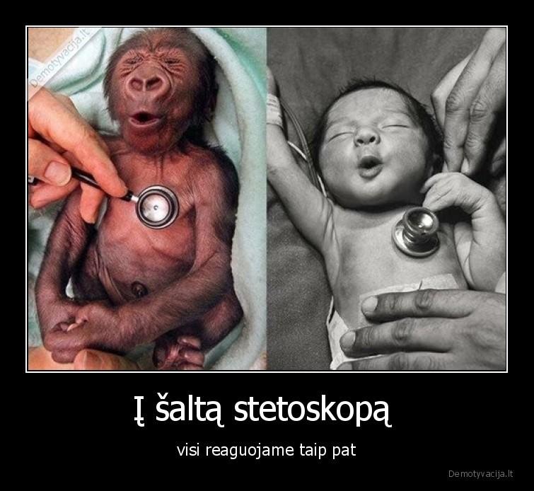 I salta stetoskopa visi reaguojame taip pat