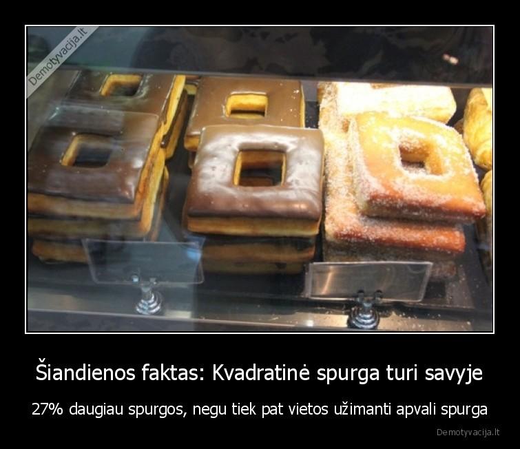 Siandienos faktas Kvadratine spurga turi savyje 27 daugiau spurgos negu tiek pat vietos uzimanti apvali spurga