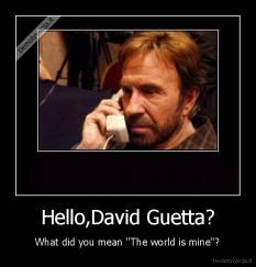 Hello,David Guetta? - What did you mean ''The world is mine''?
